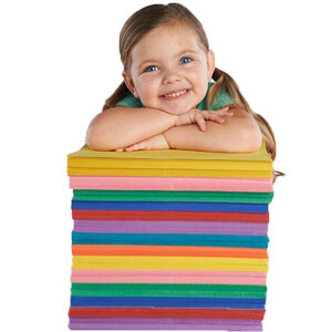 Construction Paper Stack Girl Image